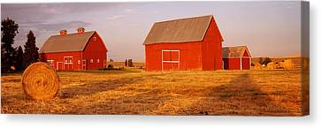 Red Barns In A Farm, Palouse, Whitman Canvas Print by Panoramic Images