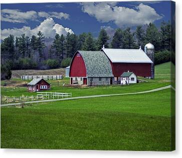 Red Barns Canvas Print by Judy  Johnson