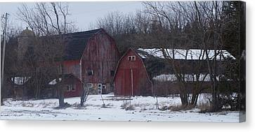 Canvas Print featuring the photograph Red Barns by Kristine Bogdanovich