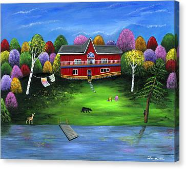 Red Bear Cottage Canvas Print by Brianna Mulvale