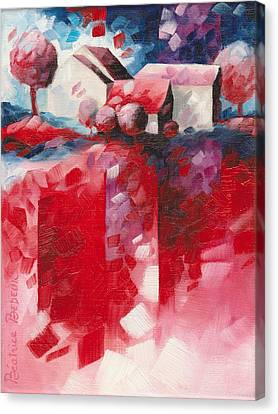 Inspirational. Pointillism Canvas Print - Red by Beatrice BEDEUR