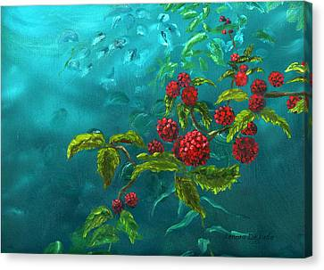 Red Berries In Blue Green Painting Canvas Print by Lenora  De Lude