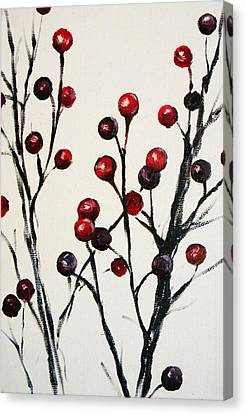 Red Berry Study Canvas Print by Rebekah Reed