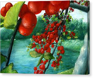 Red Berry Tree On Louisiana Pond Canvas Print by Lenora  De Lude
