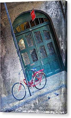 Canvas Print featuring the digital art Red Bike by Erika Weber
