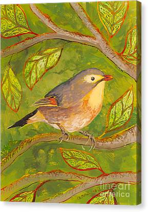Canvas Print featuring the painting Red-billed Leiothrix by Anna Skaradzinska