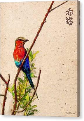 Red Bird Canvas Print by Marina Likholat