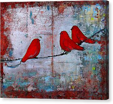 Trio Canvas Print - Red Birds Let It Be by Blenda Studio