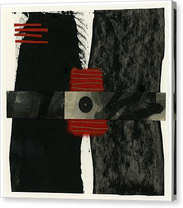 Red Black And White Collage 3 Canvas Print by Carol Leigh