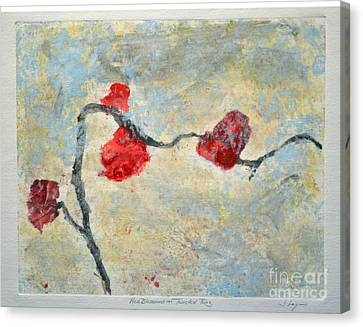 Red Blooms On Twisted Twig Canvas Print