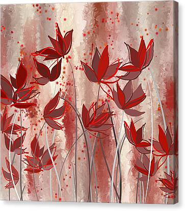 Red Blossoms- Marsala Art Canvas Print by Lourry Legarde