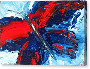 Red Blue Butterfly Canvas Print by Patricia Awapara