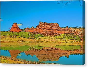 Red Bluff Reflection Canvas Print
