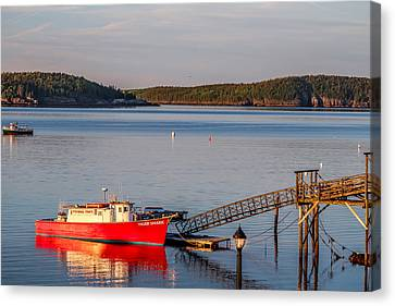 Canvas Print featuring the photograph Red Boat Bar Harbor Me by Trace Kittrell