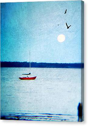 Red Boat Big Moon Canvas Print