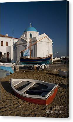 Red Boat In Mykonos At Dawn Canvas Print