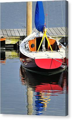 Red Boat Reflections Rockland Maine Canvas Print