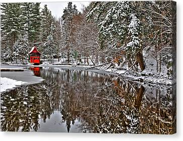 Red Boathouse In Winter Canvas Print by David Patterson
