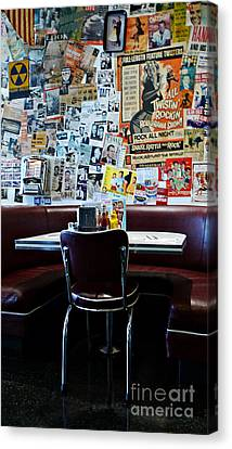 Red Booth Awaits In The Diner Canvas Print