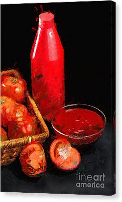 Red Bottle And Tomatoes Painting Canvas Print