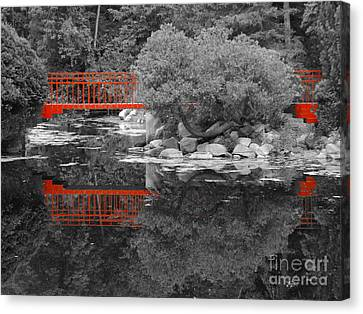 Red Bridge Black And White Canvas Print by Erick Schmidt