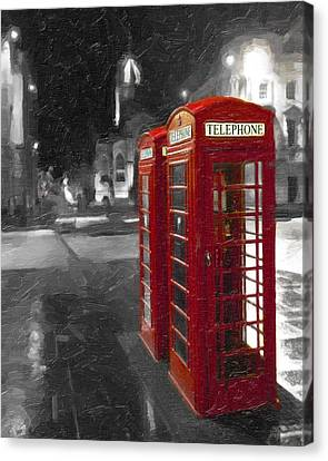 Red British Phone Box On The Streets Of Edinburgh Canvas Print by Mark E Tisdale