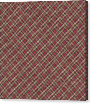 Red Brown And Green Diagonal Plaid Pattern Fabric Background Canvas Print by Keith Webber Jr