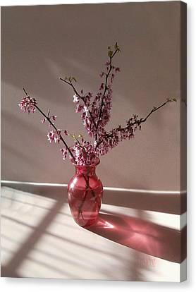 Red Bud And Rose Glass Canvas Print