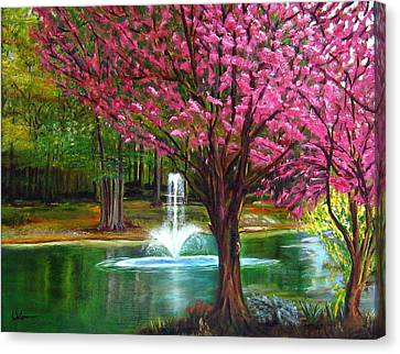 Canvas Print featuring the painting Red Bud Tree by LaVonne Hand