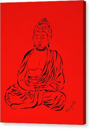 Red Buddha Canvas Print by Pamela Allegretto