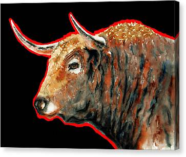 Red Bull In Black II Canvas Print by J- J- Espinoza