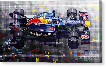 Red Bull Rb6 Vettel 2010 Canvas Print by Yuriy  Shevchuk