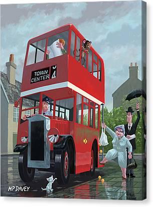 Red Bus Stop Queue Canvas Print