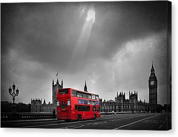 Big Ben Canvas Print - Red Bus by Svetlana Sewell