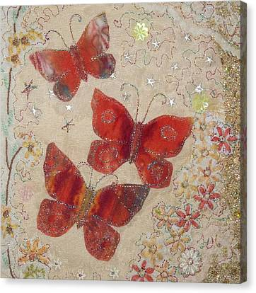 Red Butterflies Canvas Print by Hazel Millington