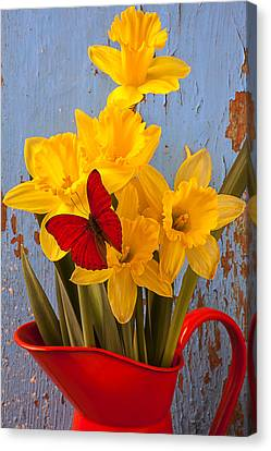 Red Butterfly On Daffodils Canvas Print by Garry Gay