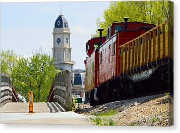 Red Caboose Canvas Print by Alys Caviness-Gober