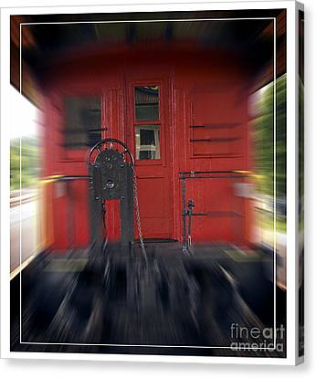 Red Caboose Canvas Print by Edward Fielding