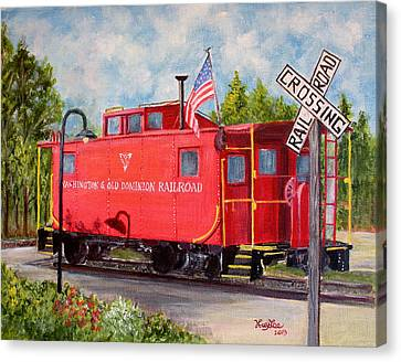 Red Caboose Canvas Print by Huy Lee