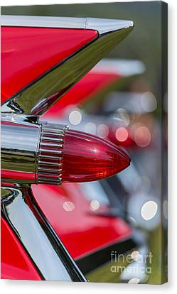 Red Cadillac Fins Canvas Print by Edward Fielding