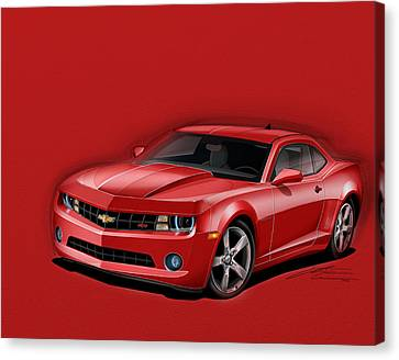 2012 Canvas Print - Red Camaro by Etienne Carignan