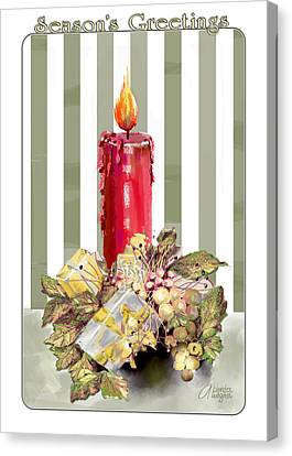 Canvas Print featuring the digital art Red Candle by Arline Wagner
