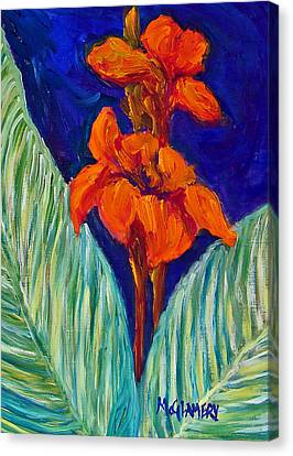 Red Canna Lilies Canvas Print by Betty McGlamery