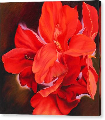 Red Canna Lily  Canvas Print by Georgia  Michaelides Saad