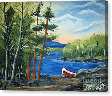 Red Canoe Canvas Print by Brenda Brown