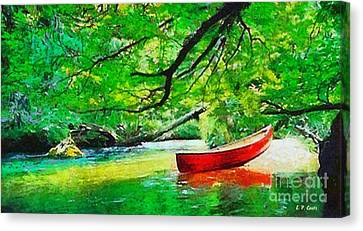 Red Canoe Canvas Print by Elizabeth Coats