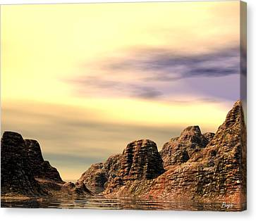 Canvas Print featuring the digital art Red Canyon Cove by John Pangia