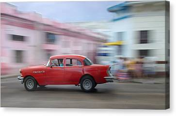 Red Car Havana Cuba Canvas Print