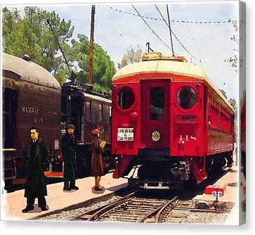 Red Car Long Beach And San Pedro Canvas Print