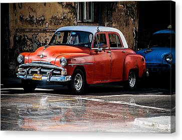 Red Car On Wet Street Canvas Print